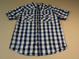 Faded Glory Shirt Button Down Collar Male Kids XL 14-16 Blues Plaids & Checks -- New With Tags