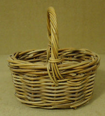 Oval Wicker Basket with Handle 10in x 10in x 7in Wood  -- Used
