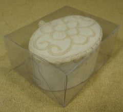 Heirloom Lace Collection Oval Box 4 1/2in x 3 1/2in x 2 1/2in Fabric Wood -- New