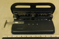Acco Large Stack 3 Hole Punch 10in x 5 1/2in x 4 1/2in Metal Rubber -- Used