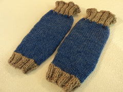 Handcrafted Knitted Baby Leg Warmers Blue/Gray Owl Eye Buttons Male 9-12 months -- New No Tags