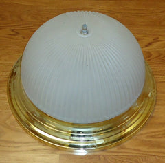 Dome Light Fixture 13 1/4in Gold Color Metal Frosted Glass  -- Used