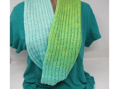 Handcrafted Knitted Cowl Shawl Wrap Teal/Green Merino Cashmere Female Adult -- New No Tags