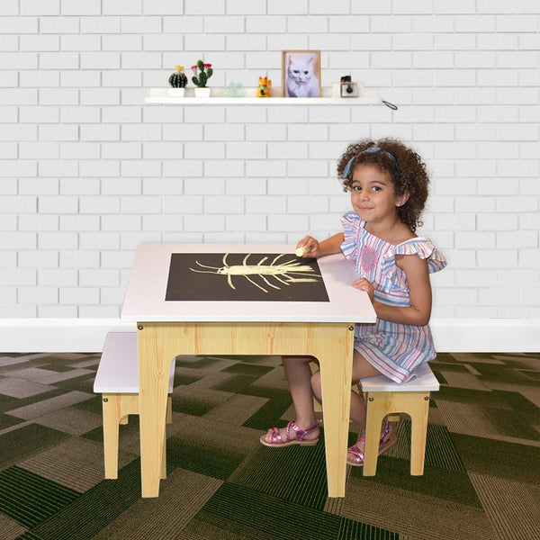 Ruby Activity Table & 2 Bench Set - Modern Line Furniture