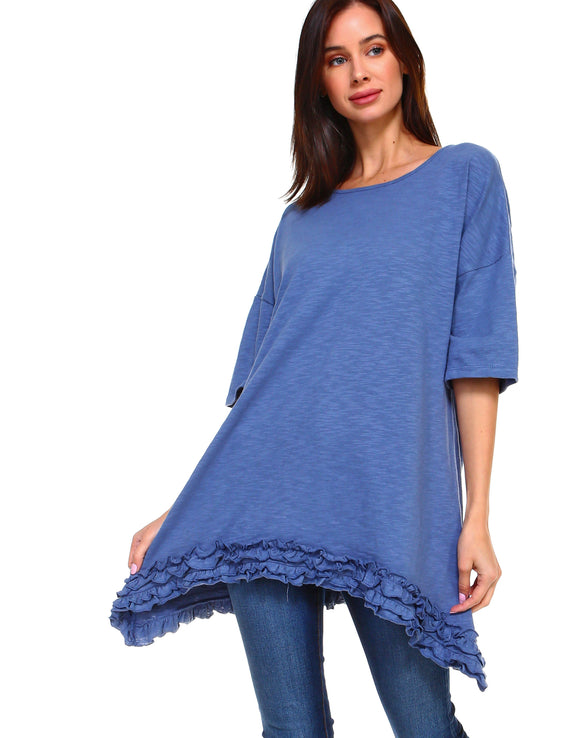 J7039 Jessica Tunic-Denim Blue