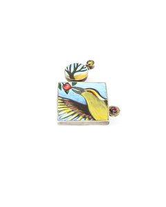 Green Bird Eating Brooch