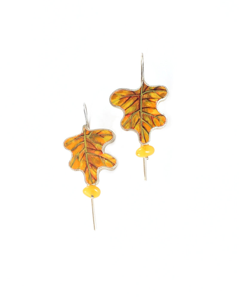 Golden Oak Leaves Earrings