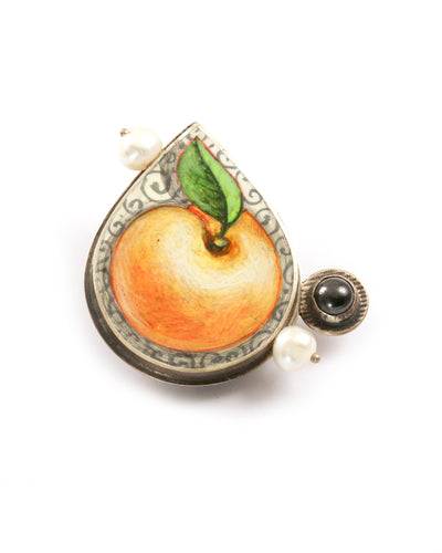 White Peach Brooch