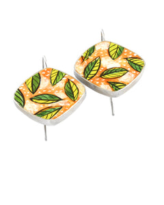 Green Leaves on Peach Earrings