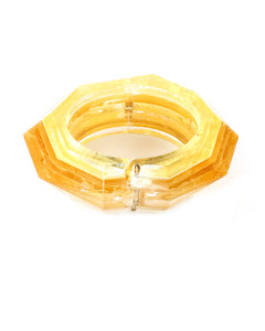 Gold Faceted Hinge Bracelet