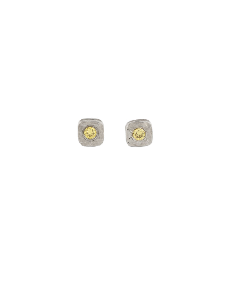 Tiny Cell Earrings with Yellow Diamond