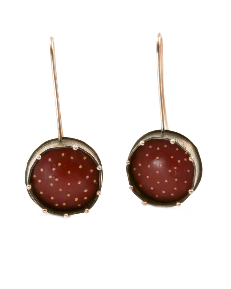 Red Polymer and Dots Earrings