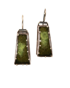 Copper and  green Felt Earrings