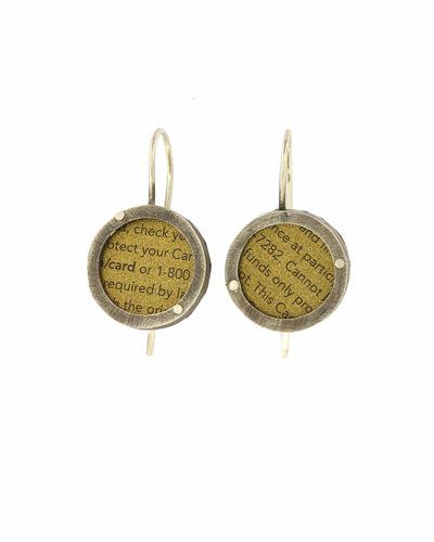 Earrings Upcycled Coffee Gift Card And sterling Silver Golden