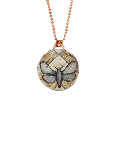 Moth on Grid Pendant