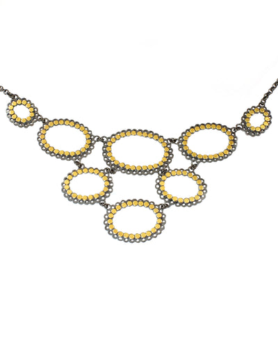 Dot Lace Necklace Oxidized Silver and Gold