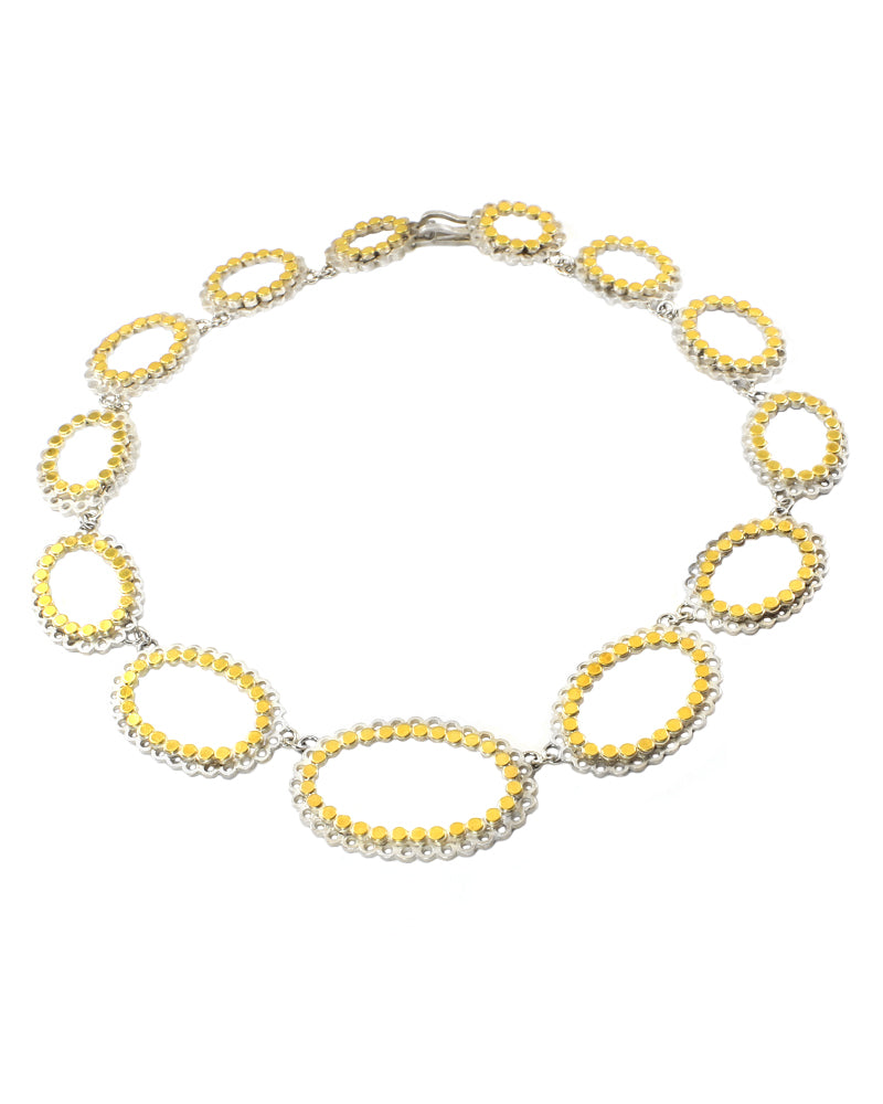 Dot Lace Necklace Bright Silver and Gold