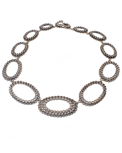 Lace Oval And Diamond Necklace