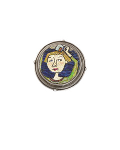 Girl with House on Head Brooch