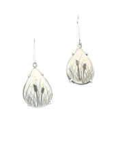 Load image into Gallery viewer, Teardrop Cattail Earrings