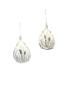 Teardrop Cattail Earrings