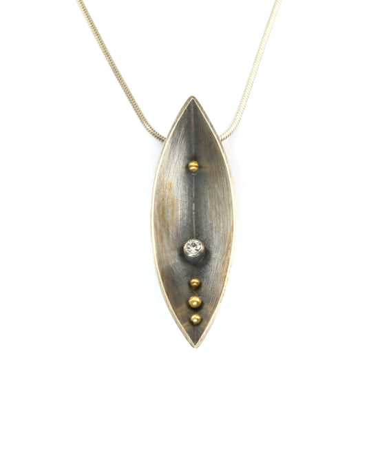 Boat Necklace with Sapphire