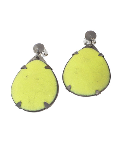 Large Bitter Green Enamel Teardrop Stud Earring