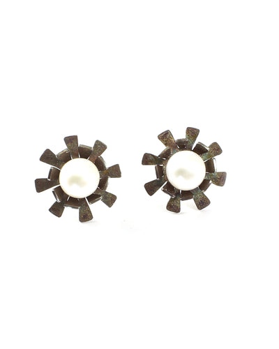 Folded Flower Pearl Stud Earrings