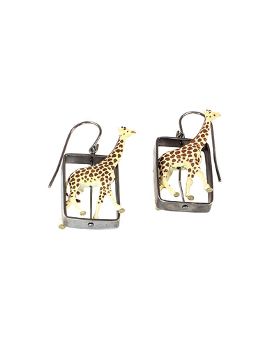 Medium Giraffes Oxidized Silver Earrings