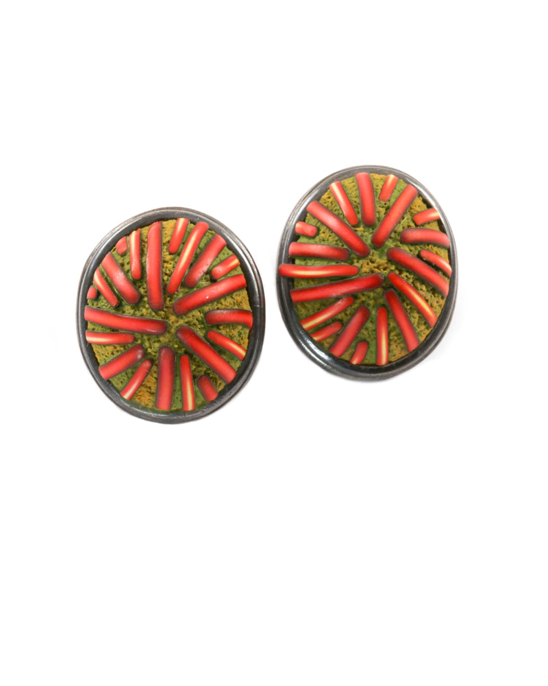 Orange and Tan Earrings