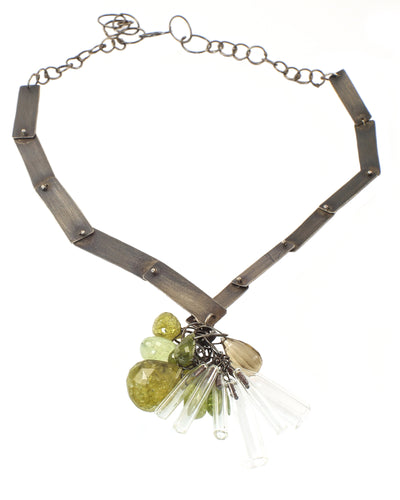 Green Garnet and Pyrex Necklace