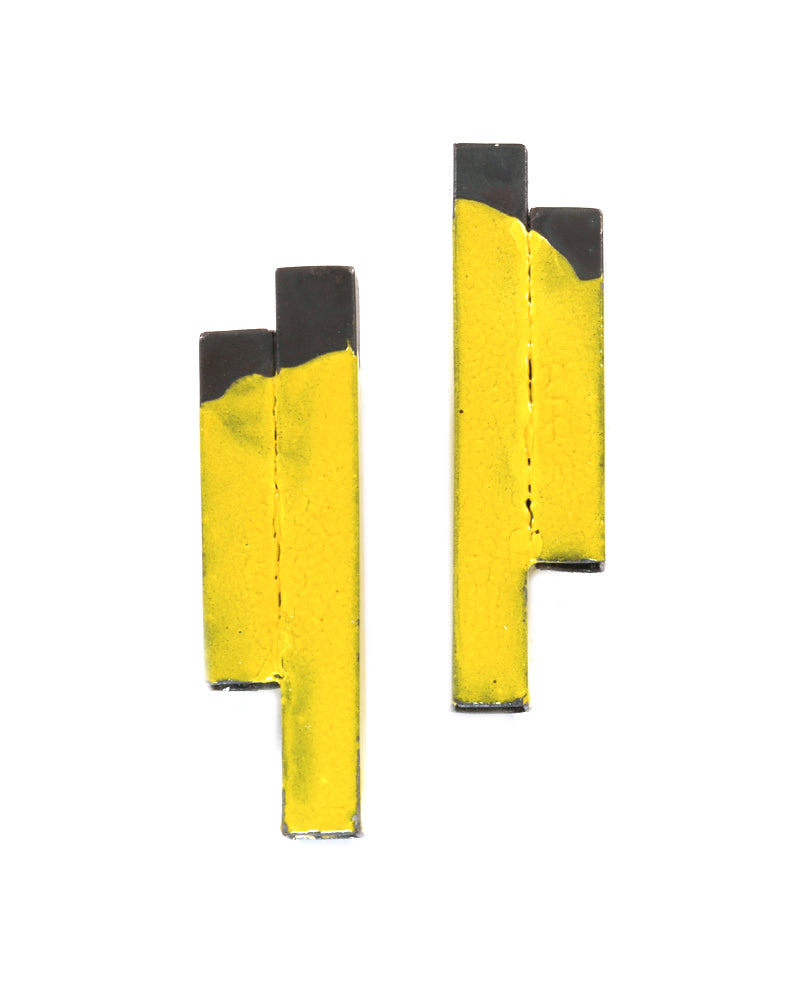 Yellow Tube Post Earrings