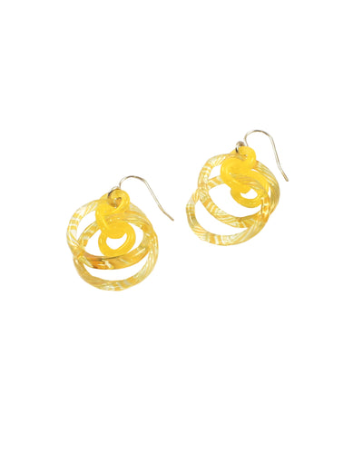 Yellow Circle Earrings #4