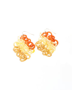 Amber and Orange Circles Earrings