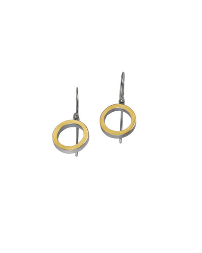 22K Circle Oxidized Earrings
