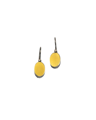 Bimetal Oval Earrings