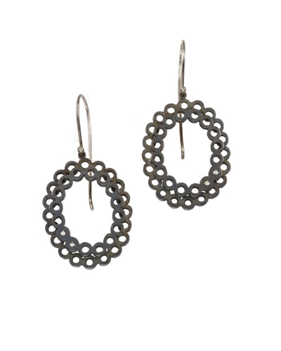 Double Lace Oval Diamond Earrings