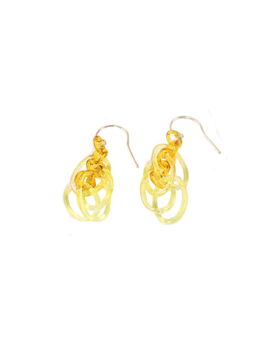 Yellow Oval Link Earrings