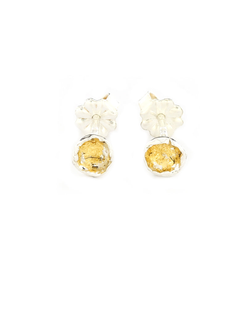 Gold Leaf SpaceDot Earrings