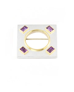Square Amethyst Brooch