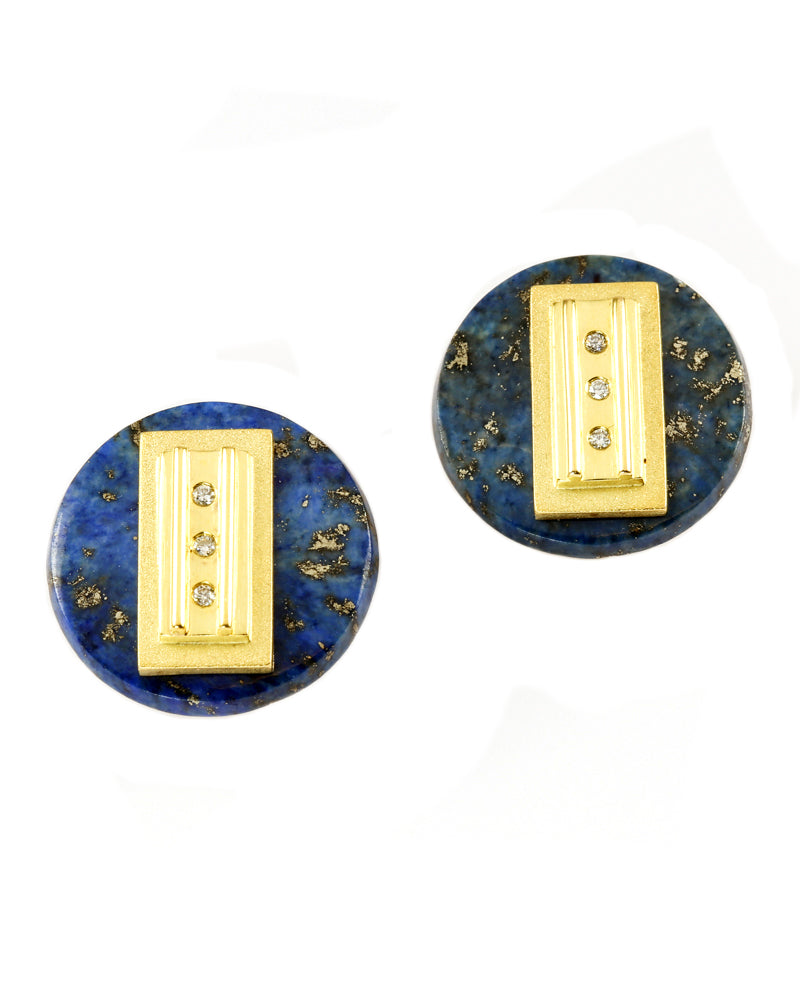 Diamond and Lapis Studs