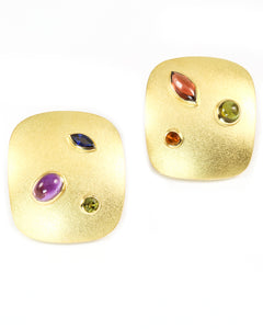 Gold Cabochon Earrings