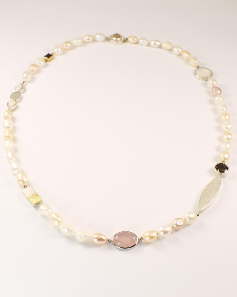 Moonstone, Pearl Quartz Necklace