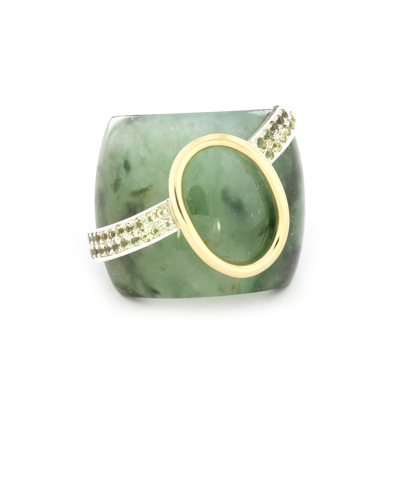 Serpentine and Peridot Ring
