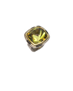 Monolithic Buff Top Lemon Quartz Ring