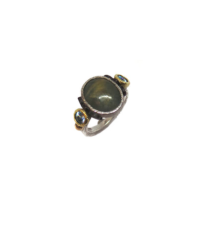 Oval Grey Banded Rustic Cabochon Sapphire Ring