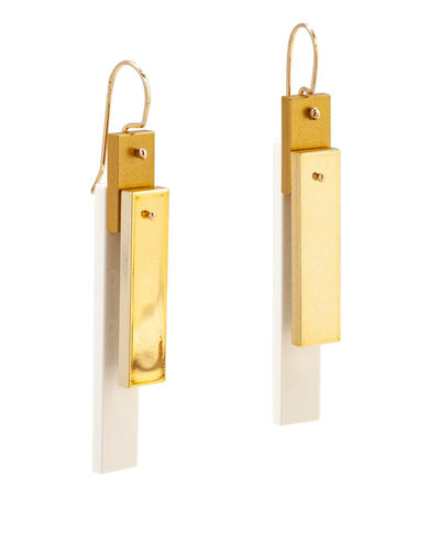 Chrome Gold Tile Earrings