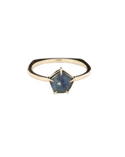 Load image into Gallery viewer, Rose Cut Montana Sapphire Pentagon Ring