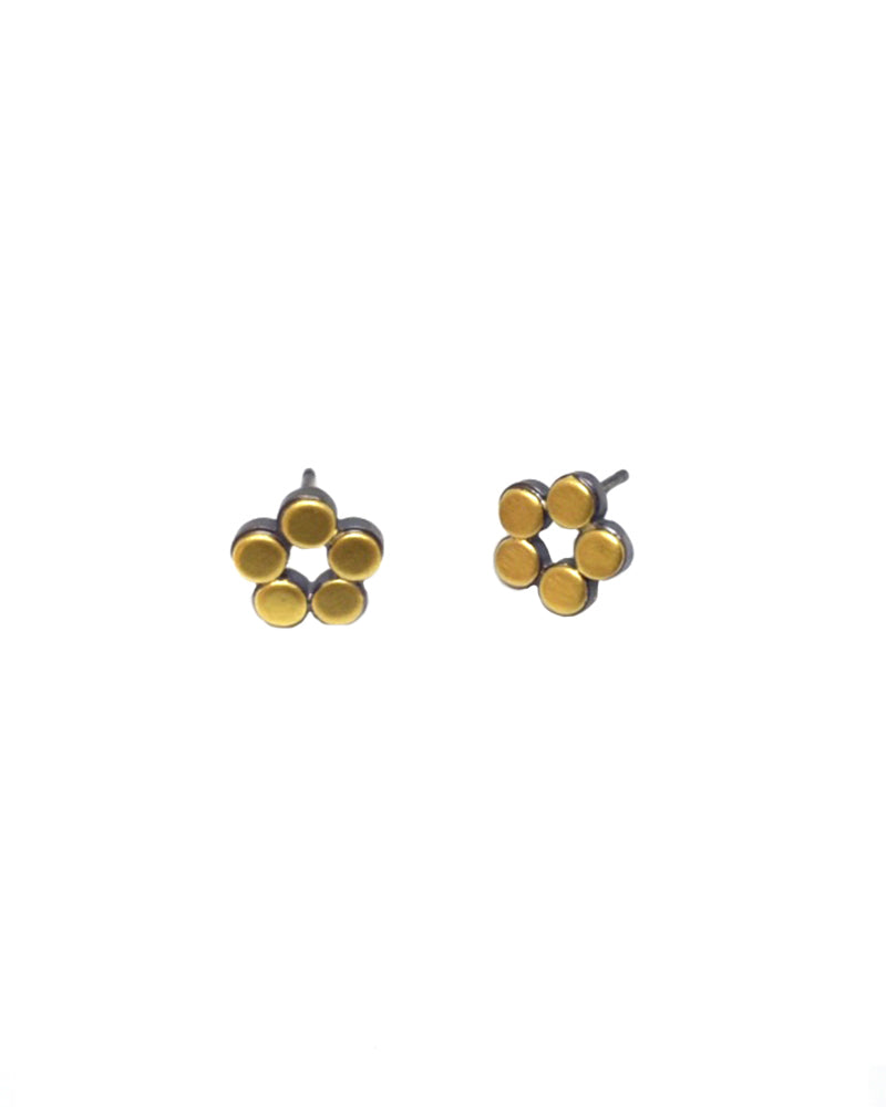 Gold Flower Dot Earring