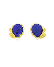 Load image into Gallery viewer, Lapis Lazuli and Leaf Earrings